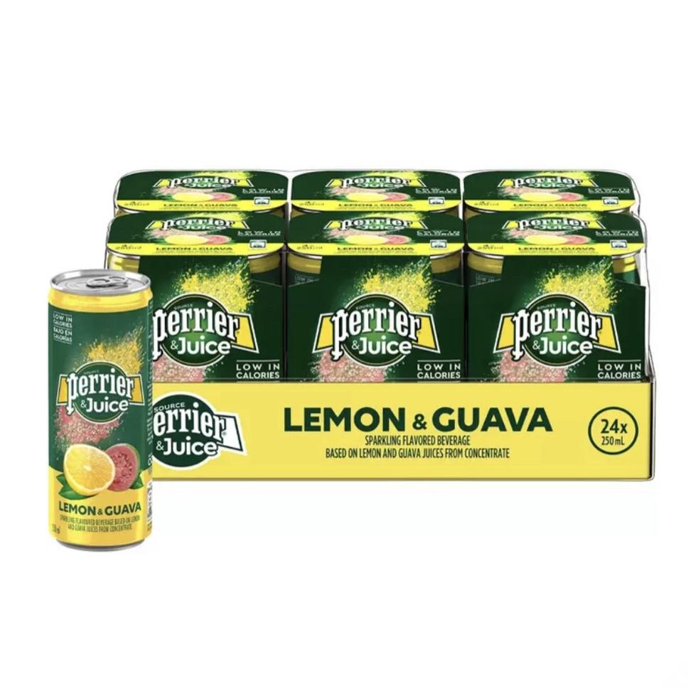 Peoria✿好市多代購線上 Perrier 沛綠雅 氣泡綜合果汁 檸檬芭樂口味 250毫升 X 24入
