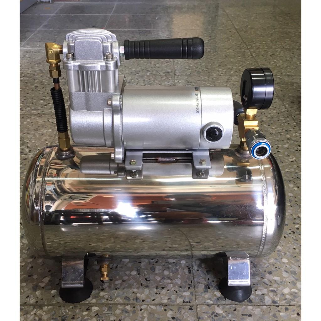 12V無油式小型空壓機 白鐵桶