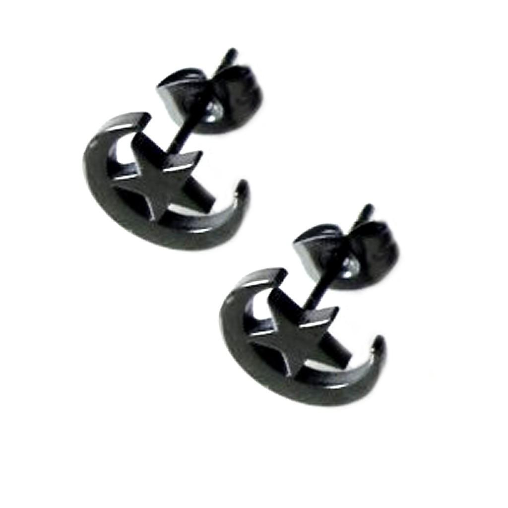 耳環耳針 醫療鋼耳環 星月相伴 耳環男生 耳針款 艾豆『B2620』