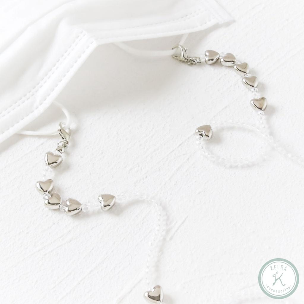 【KELRA】朝朝暮暮愛心透明圓珠口罩鍊