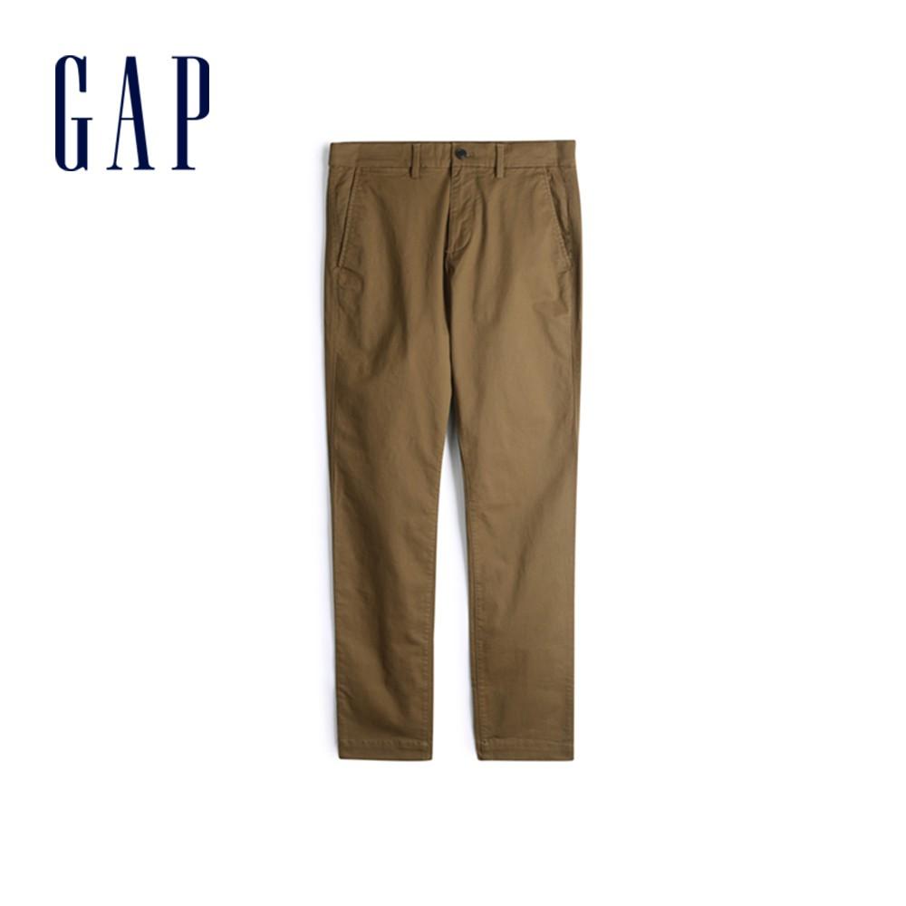 Gap 男裝 棉質微彈直筒型休閒褲 500360-棕色