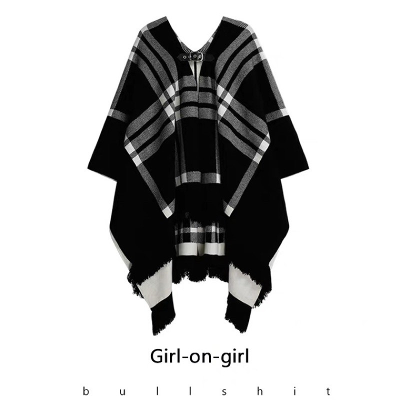 【雙面披肩】格子披肩外套男女秋外穿斗篷兩面穿毛針織大方巾