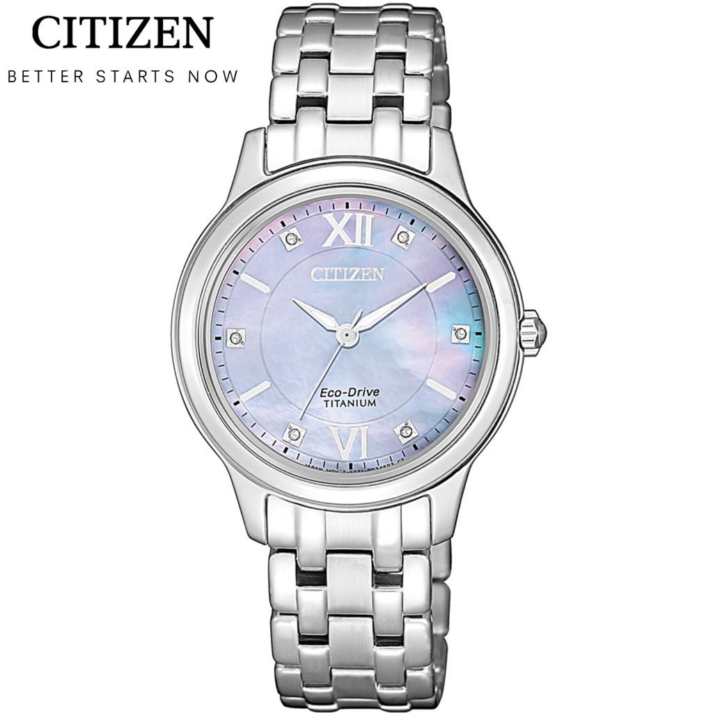 CITIZEN星辰錶 LADY'S系列 光動能晶鑽鈦金時尚手錶 EM0720-85Y-珍珠貝X銀/30mm