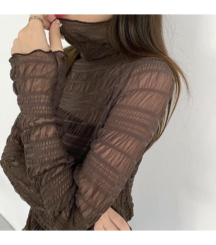 ra_cats☘️7608半高領網紗蕾絲打底衫女秋冬2020新款洋氣雪紡衫小衫