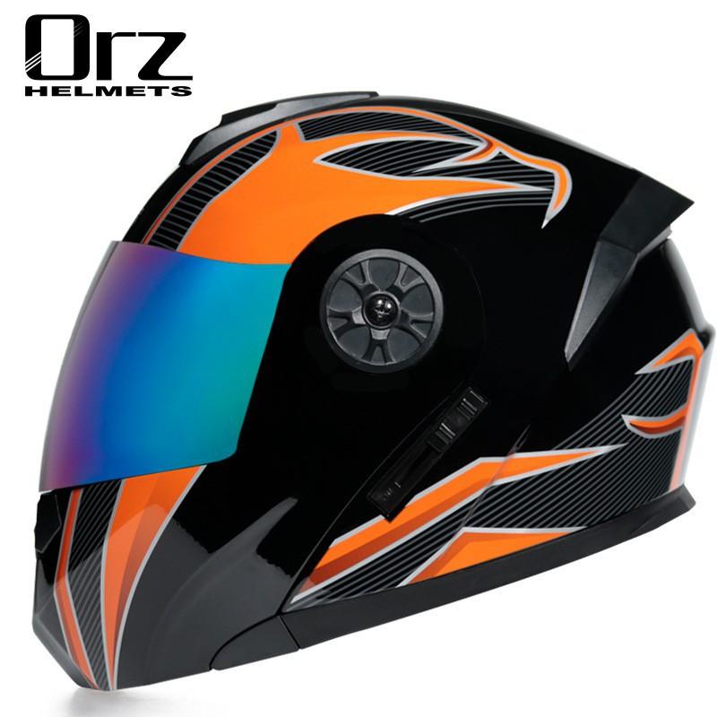 【最快發货】ORZ電動電瓶頭盔灰男女士全盔四季揭面盔夏季安全帽帥氣
