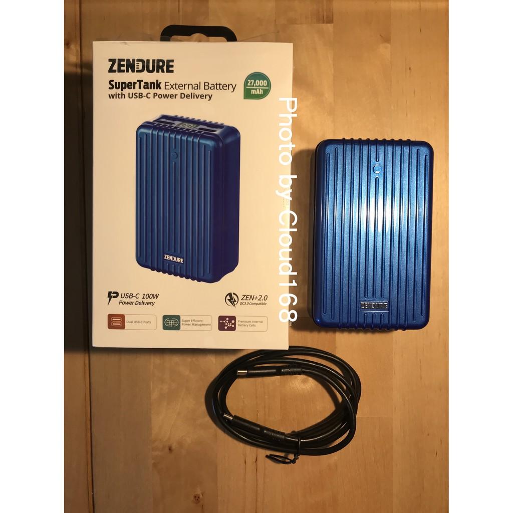 [少用極新] Zendure 27000mAh SuperTank 100W 四孔極速行動電源 PD 雙向快充