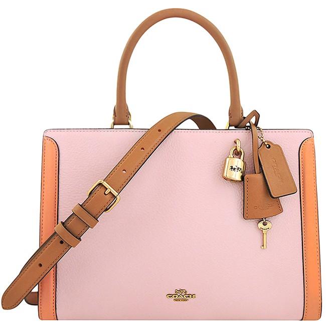 COACH 櫻花粉色荔枝紋皮革鎖頭手提/斜背兩用包