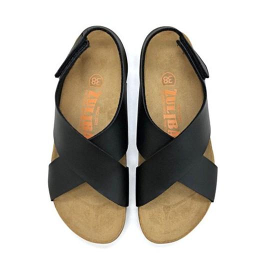【ZULIBA個性風格】女足跡寬帶交叉涼鞋(36~39)-黑