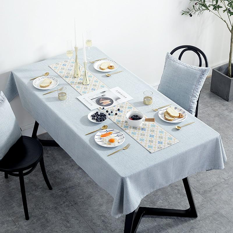 #爆品下殺#ins桌布布藝北歐式現代簡約防水餐桌布棉麻臺布家用刺繡茶幾桌布