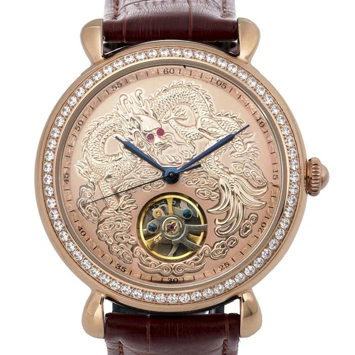 6D026 ⌚機械錶不銹鋼真皮錶帶機械表晶鑽龍行天下經典紅寶手錶八心八箭玫瑰金曼莉萊克 Manlike