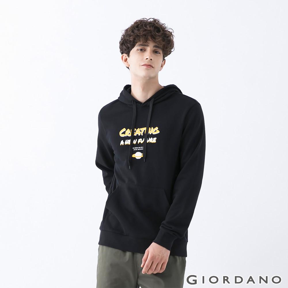 GIORDANO 男裝MY LIFE連帽T恤-21 標誌黑 13090704