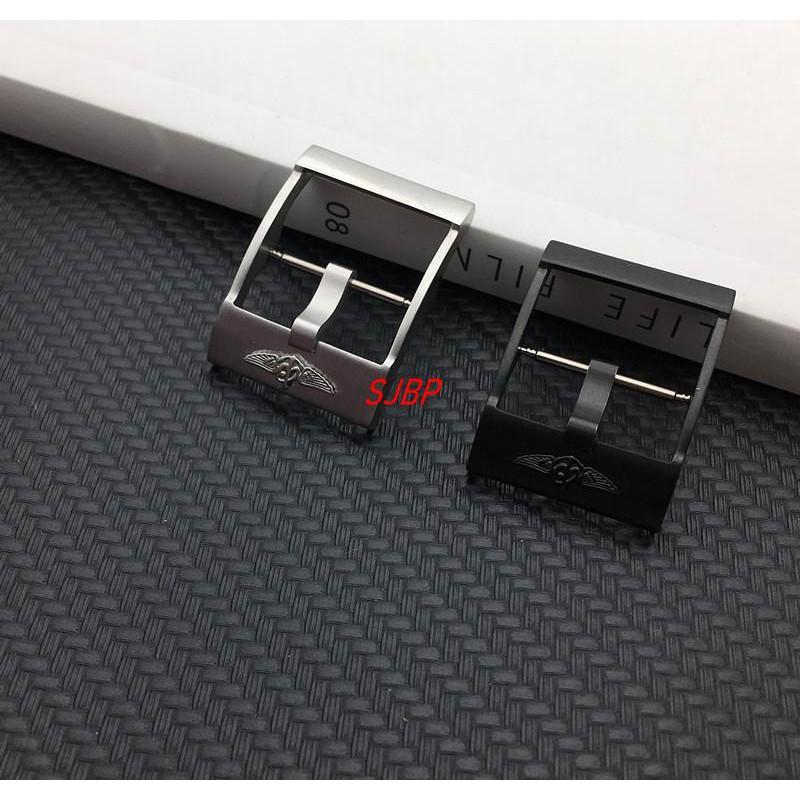 【原裝品質】代用Breitling百年靈加厚表扣硅膠橡膠帶扣20mm 黑色銀色