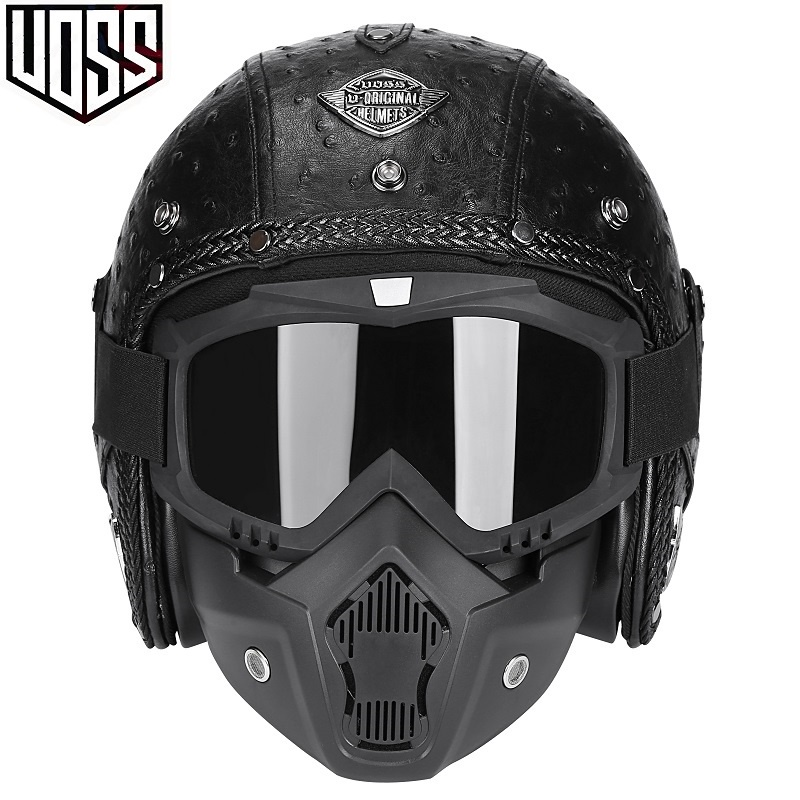 VOSS復古頭盔哈雷半盔男女機車安全帽個性電動摩托車3/4皮盔四季 305ab