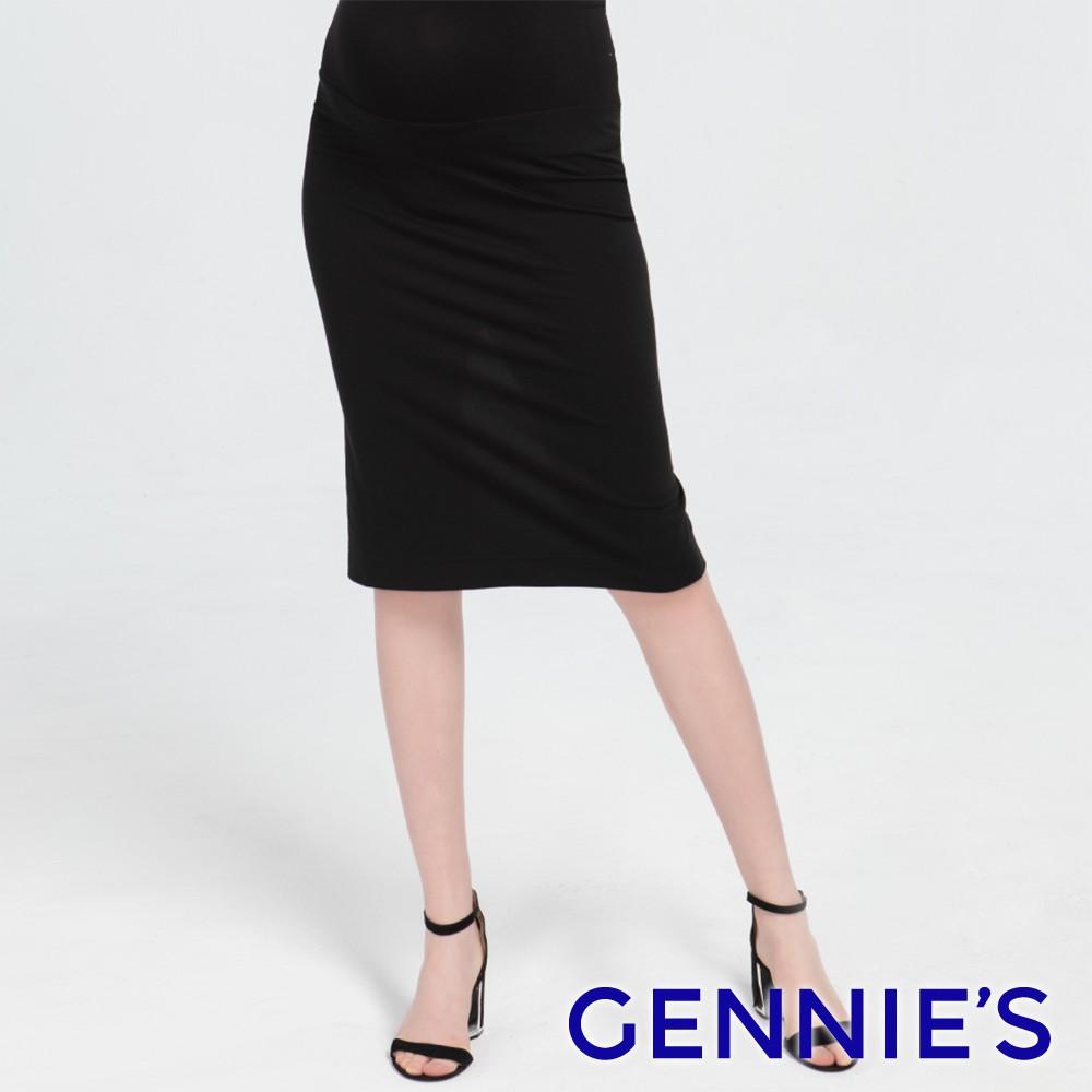 Gennies奇妮-修身開衩孕婦窄裙-黑(T4J01)