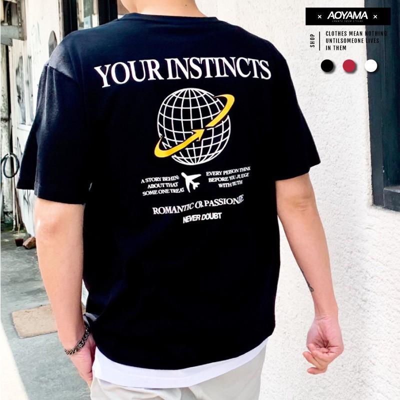 AOYAMA YOUR INSTINCTS 地球 五分袖落肩短T【C21018】 韓國 潮流 情侶 街頭 青山