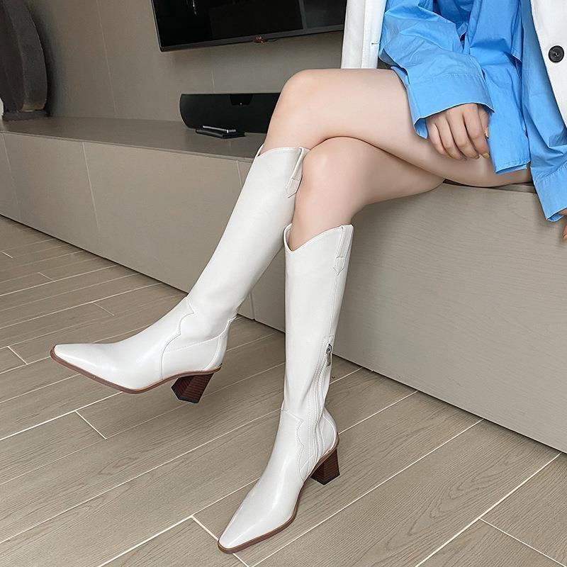 2020年新款V口長靴女高跟尖頭