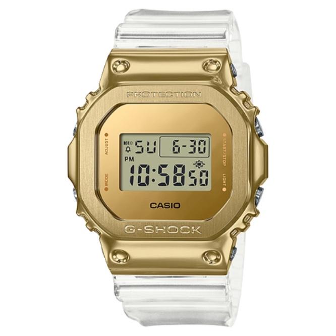 商城出貨🚚免運優惠✨ CASIO GSHOCK 霸氣時尚金屬錶圈金色透明錶帶 GM-5600SG-9