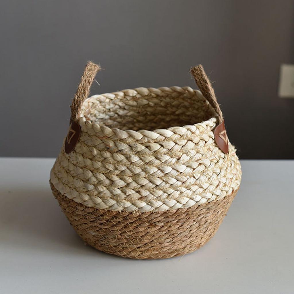 儲物籃花籃迷你手提包藤製材料便攜式乾燥, 用於家庭裝飾佈置編織 2021 竹吸管多種尺寸的裝飾天然水果鍋