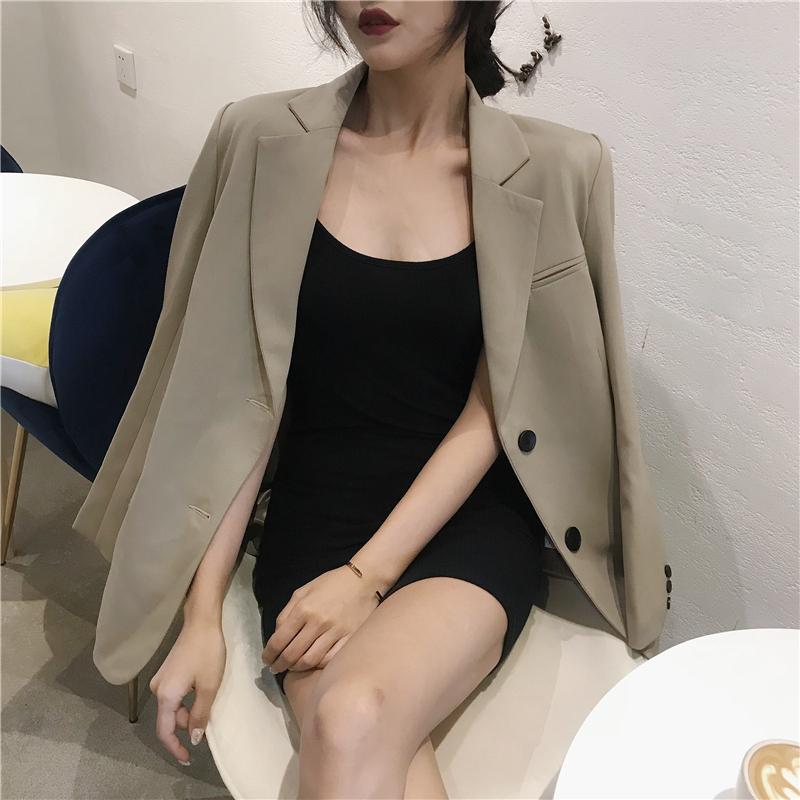 ✨韓系 復古風 質感中長款西裝外套✨