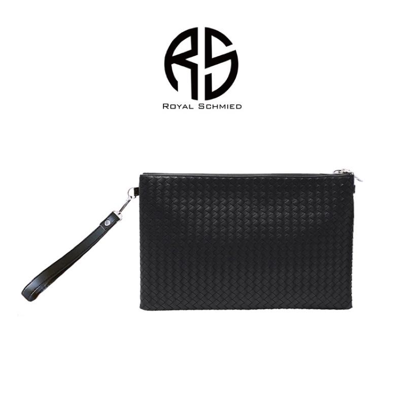 【ROYAL SCHMIED】RS黑色經典時尚編織拉鍊手拿包