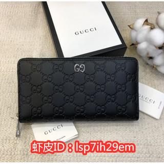 《誠信二手正品》99新 Gucci 雙G 473928 金屬銀Logo 壓紋皮革 拉鏈長夾 錢包 黑色/ 藍色