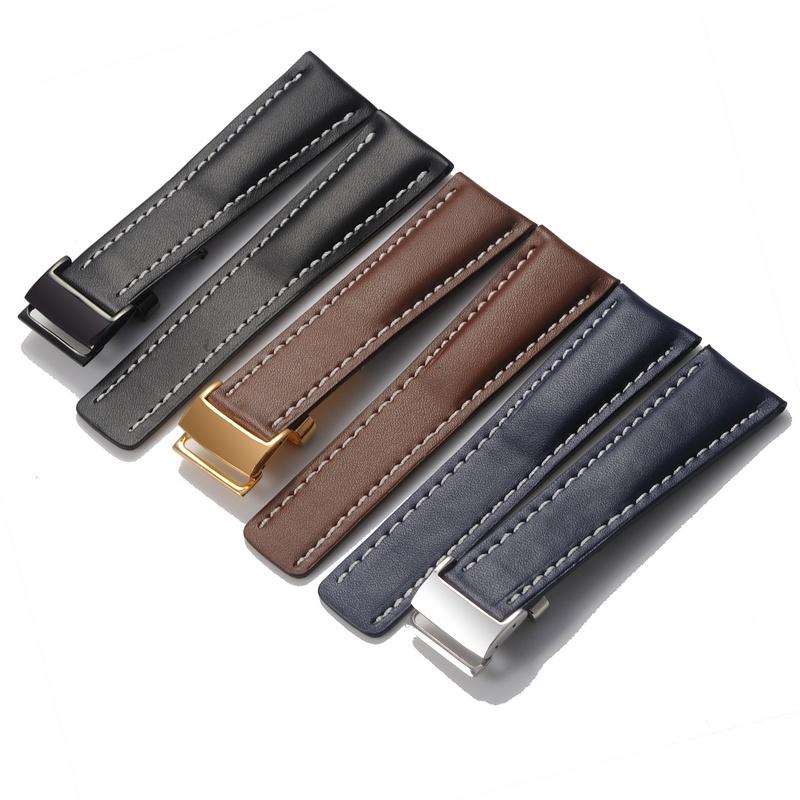 真皮平紋手表帶 代用BREITLING 百年靈 海洋系列表帶22 24mm 男