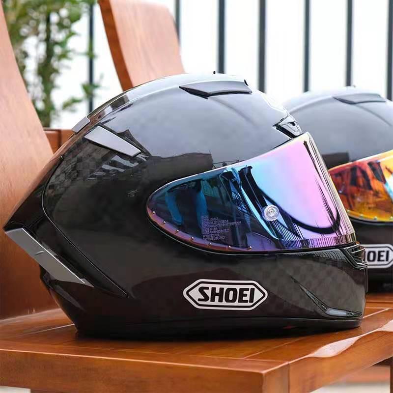摩托車SHOEI頭盔全盔X14碳纖維紅招財貓螞蟻復古馬奎斯機車男四季