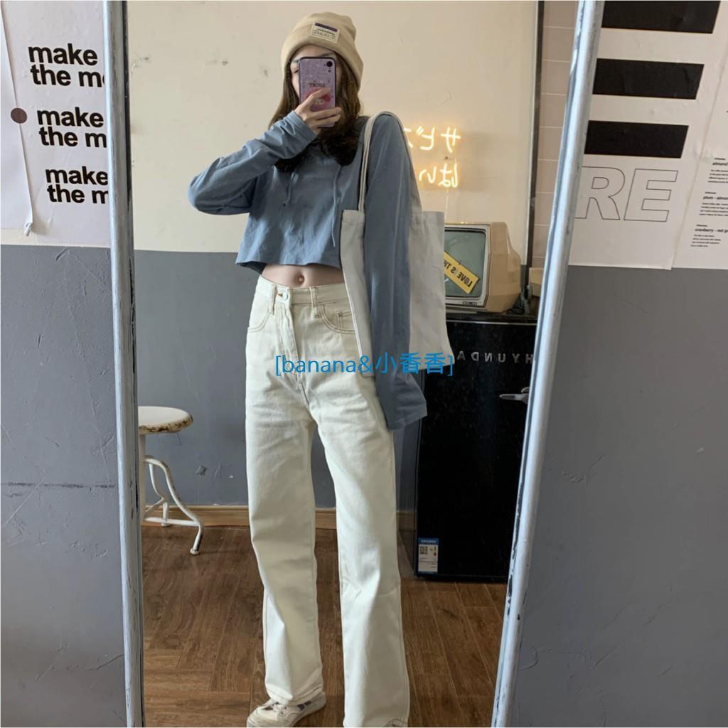 韓國寬松直筒牛仔褲 高腰復古明線顯瘦修飾腿型長褲banana小香香線上商店