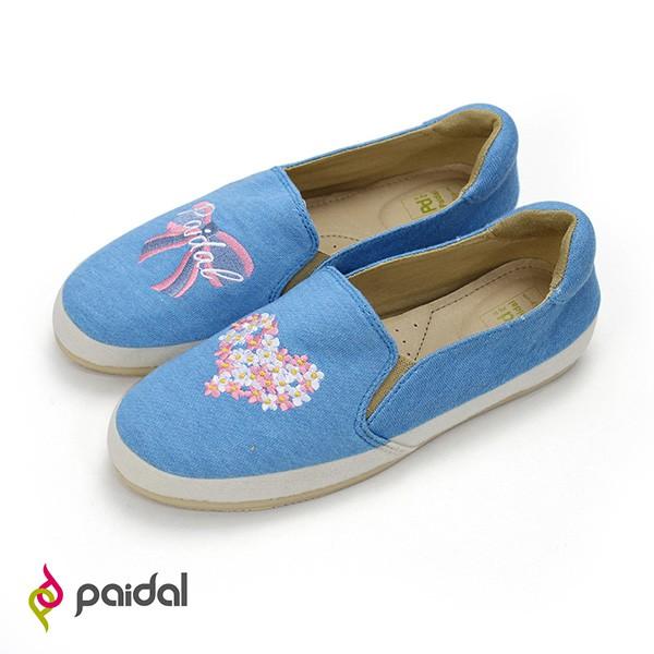 Paidal心之花圃蝴蝶結電繡懶人鞋休閒鞋-藍