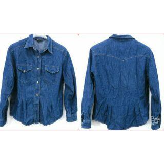 0531 專櫃品牌 義大利品牌 皮爾卡登 pierre cardin 復古古著 顯瘦基本款 牛仔長袖襯衫 牛仔外套 M號 高雄市
