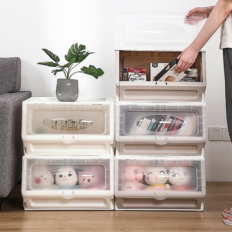 【台灣現貨❤免運費】大號斜口收納箱 塑料可折疊側開透明整理箱 玩具衣物收納箱可疊加