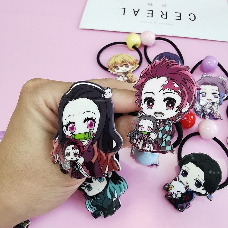 簡漫日本動漫韓版兒童卡通飾品鬼滅鬼滅之刃頭髮飾單扎髮圈頭繩