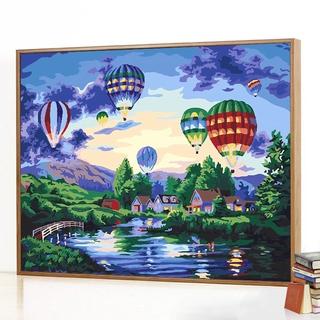 diy數字油畫 風景客廳臥室手繪塗色油彩畫裝飾畫 放飛夢想熱氣球