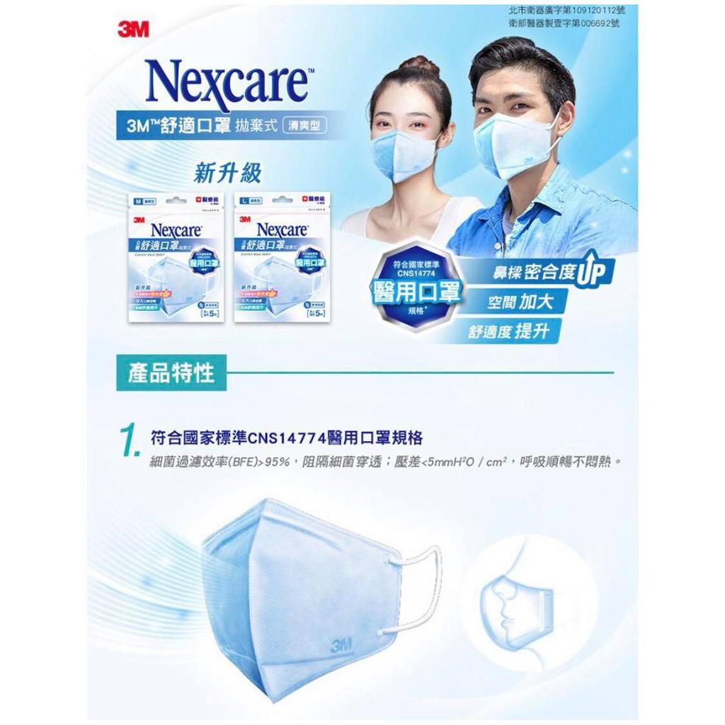 ★現貨★3M Nexcare 立體舒適口罩 M/L 成人加大醫療立體口罩 5入/包