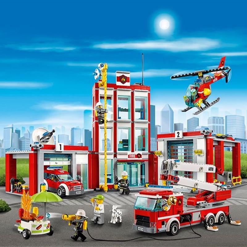 樂高城市系列消防總局男女孩子拼裝積木玩具警察局人仔房子60215