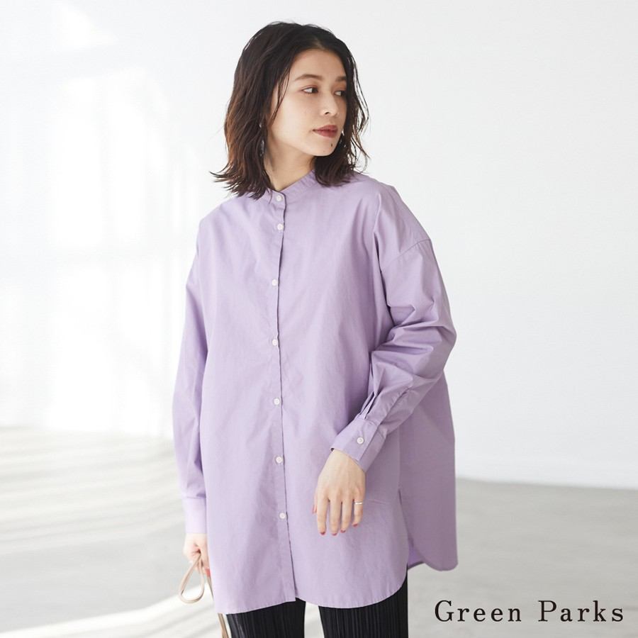Green Parks 後開衩綁結長版襯衫(6A11L0A0600)