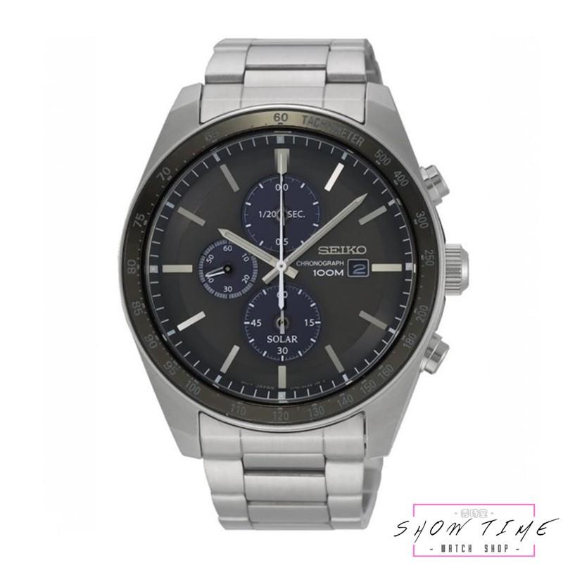 SEIKO 精工 潮流時尚大錶徑太陽能三眼紳士腕錶-鋼帶/黑面銀 SSC725P1 [ 秀時堂 ]