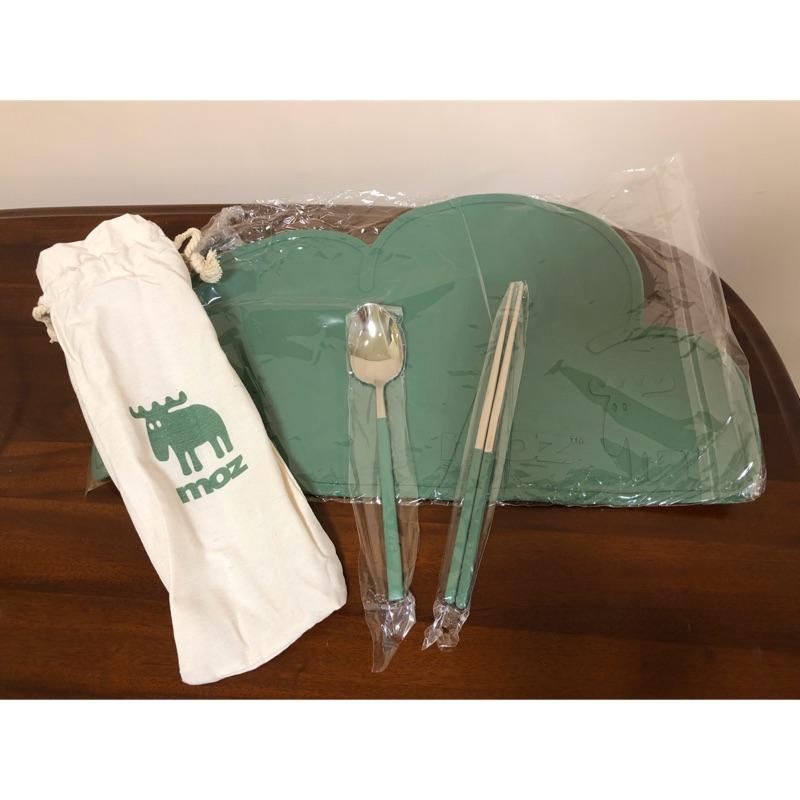 Moz餐具組 (餐墊+304筷子+304湯匙+帆布束口袋)