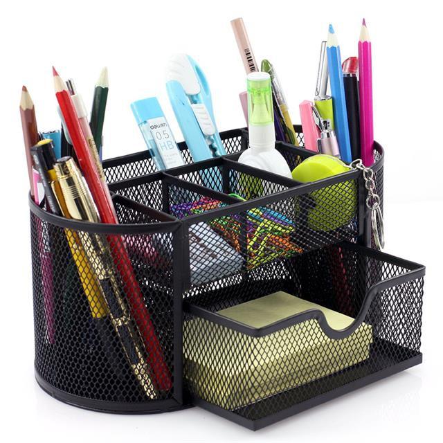 ☆得力文具創意時尚筆座筆架辦公用品收納盒多功能網紋組合筆筒8902