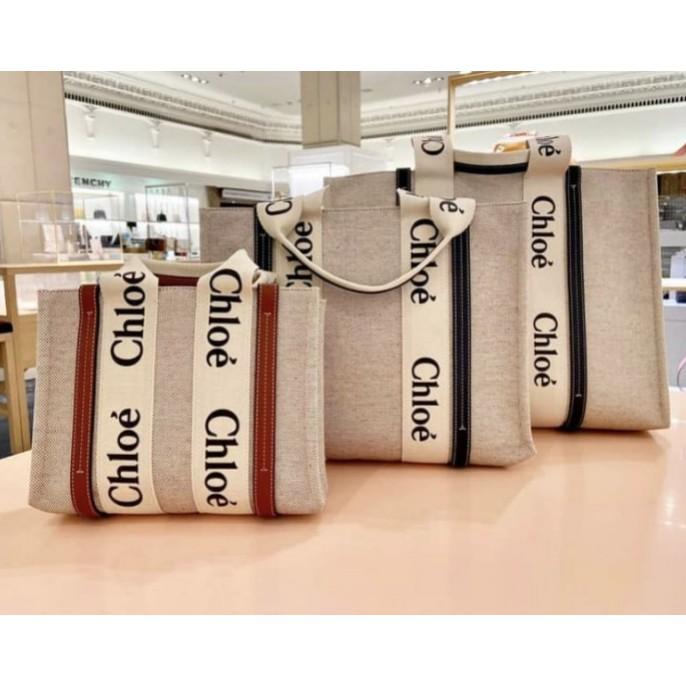 Chloe(蔻依) 爆款 字母 Woody Tote Bag 帆布 購物包 托特包 中型 深藍色 現貨