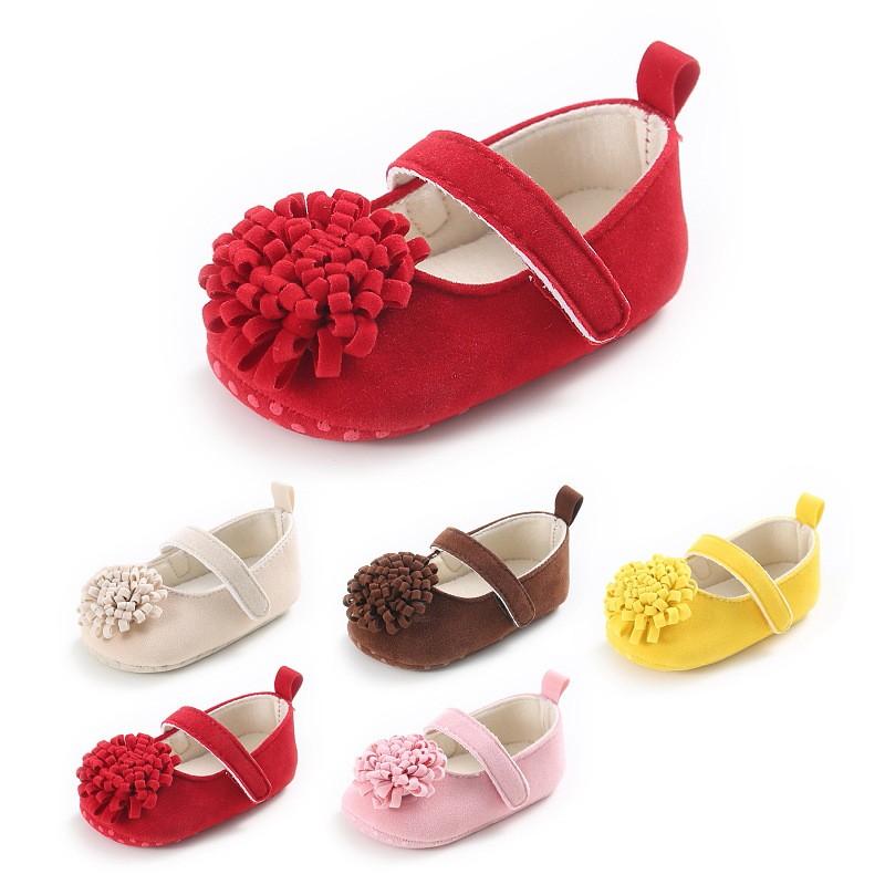 童鞋 新款童鞋嬰幼童寶寶鞋外貿0-1歲女寶寶純色花朵公主鞋軟底嬰兒學步鞋
