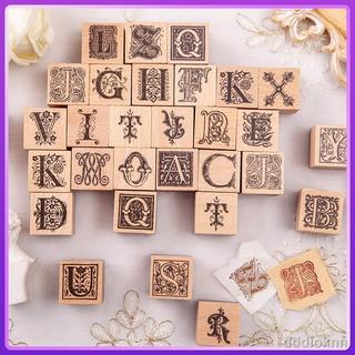□有控 26個英文字母印章 歐洲花園復古哥特花體手帳裝飾素材印畫