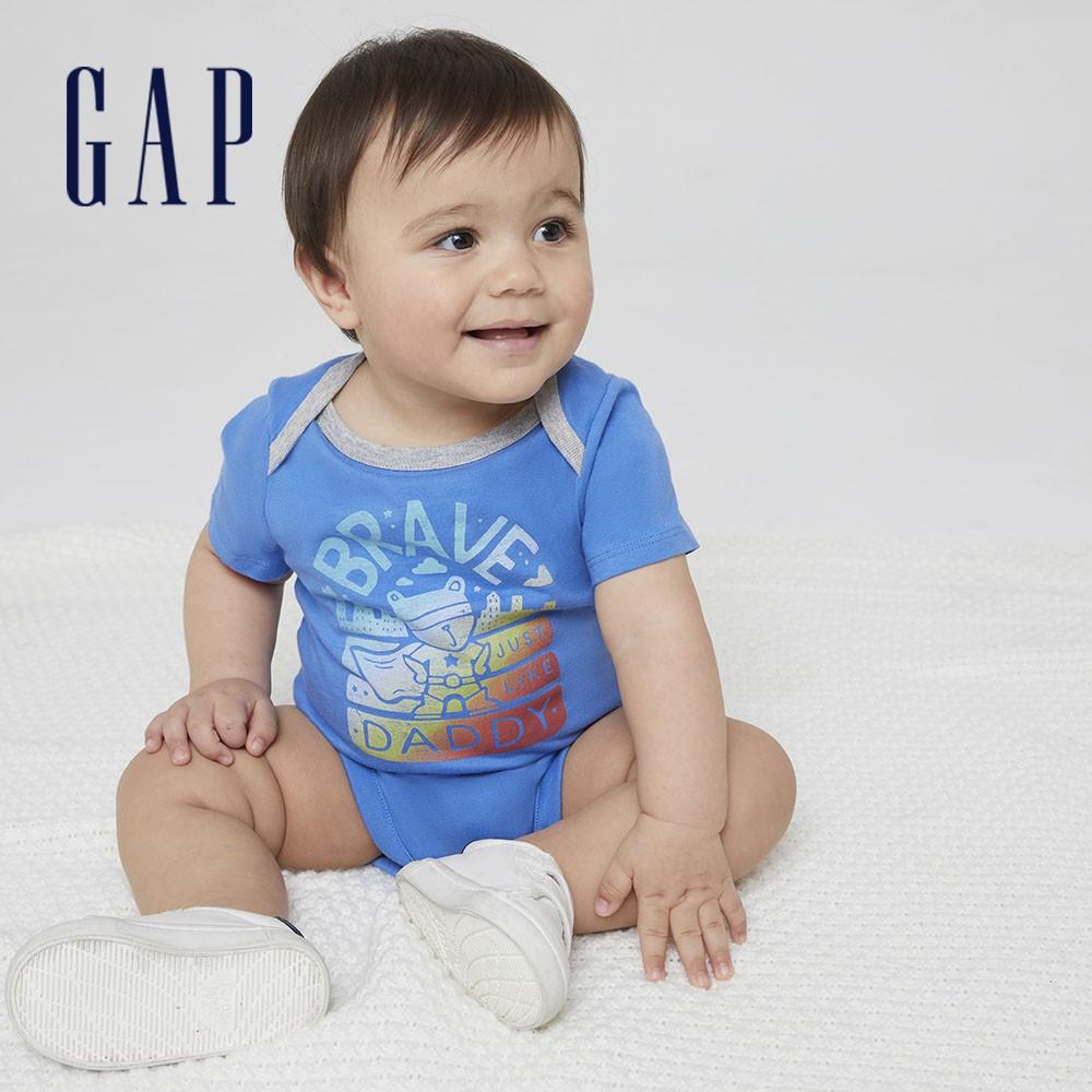 Gap 嬰兒 布萊納系列 純棉小熊印花連身衣 786416-藍色