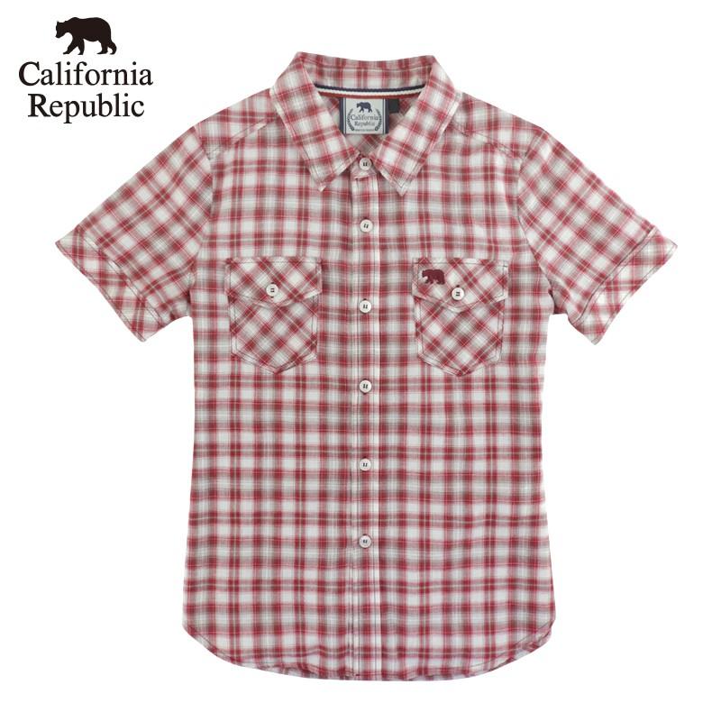 CALIFORNIA|品牌格紋口袋小熊短袖襯衫(女)
