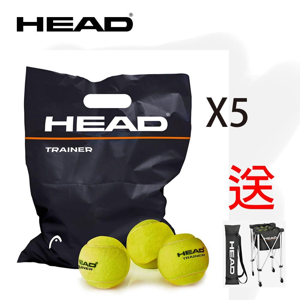 HEAD TRAINER 72B專業網球/無壓球/訓練球(1袋72入)x5箱  送HEAD網球置球車x1