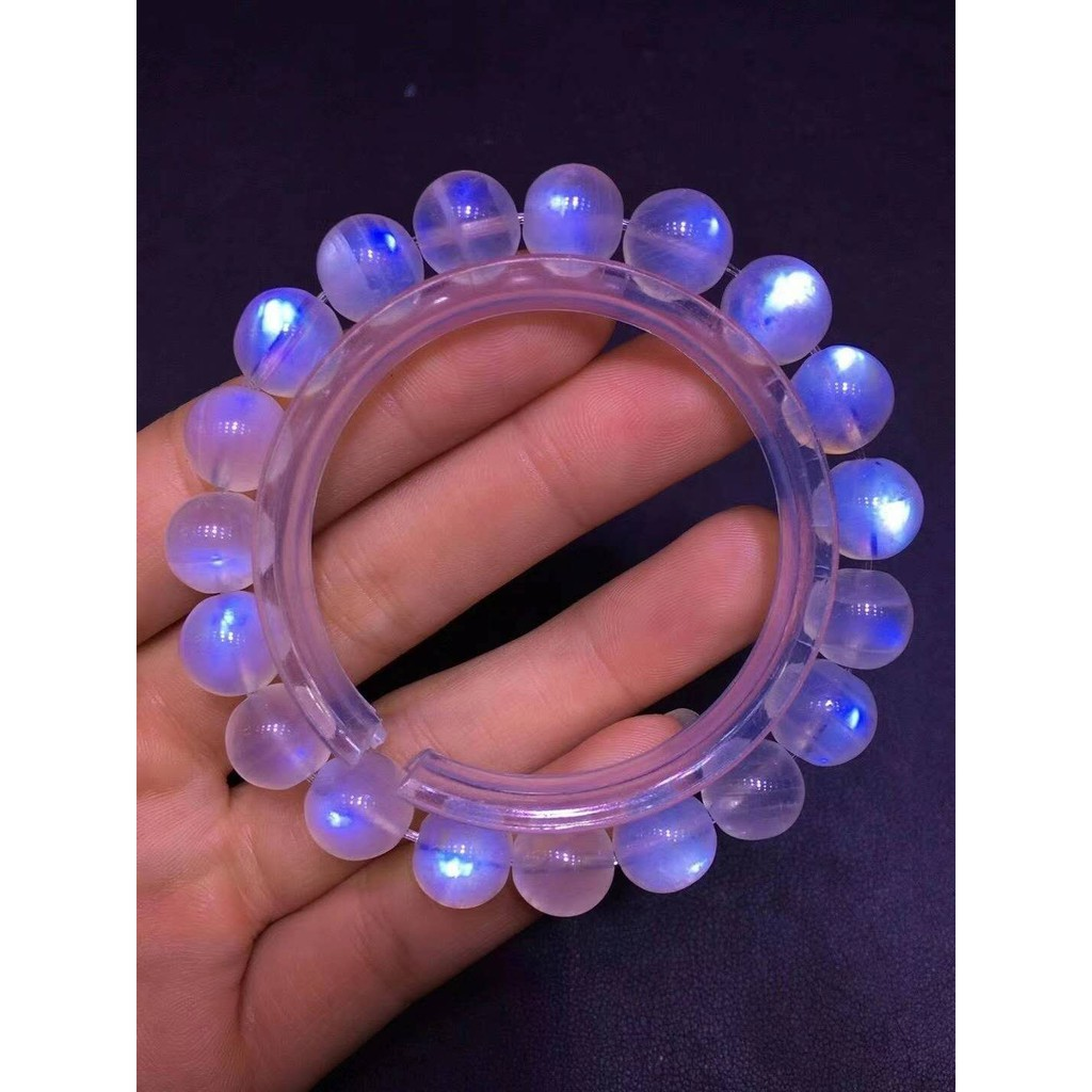 月光石手珠 天然奶油體彩月藍月光石10MM圓珠單圈手鍊 晶體剔透 大面藍光 一圖一物 開運轉運手飾品 禮物Y
