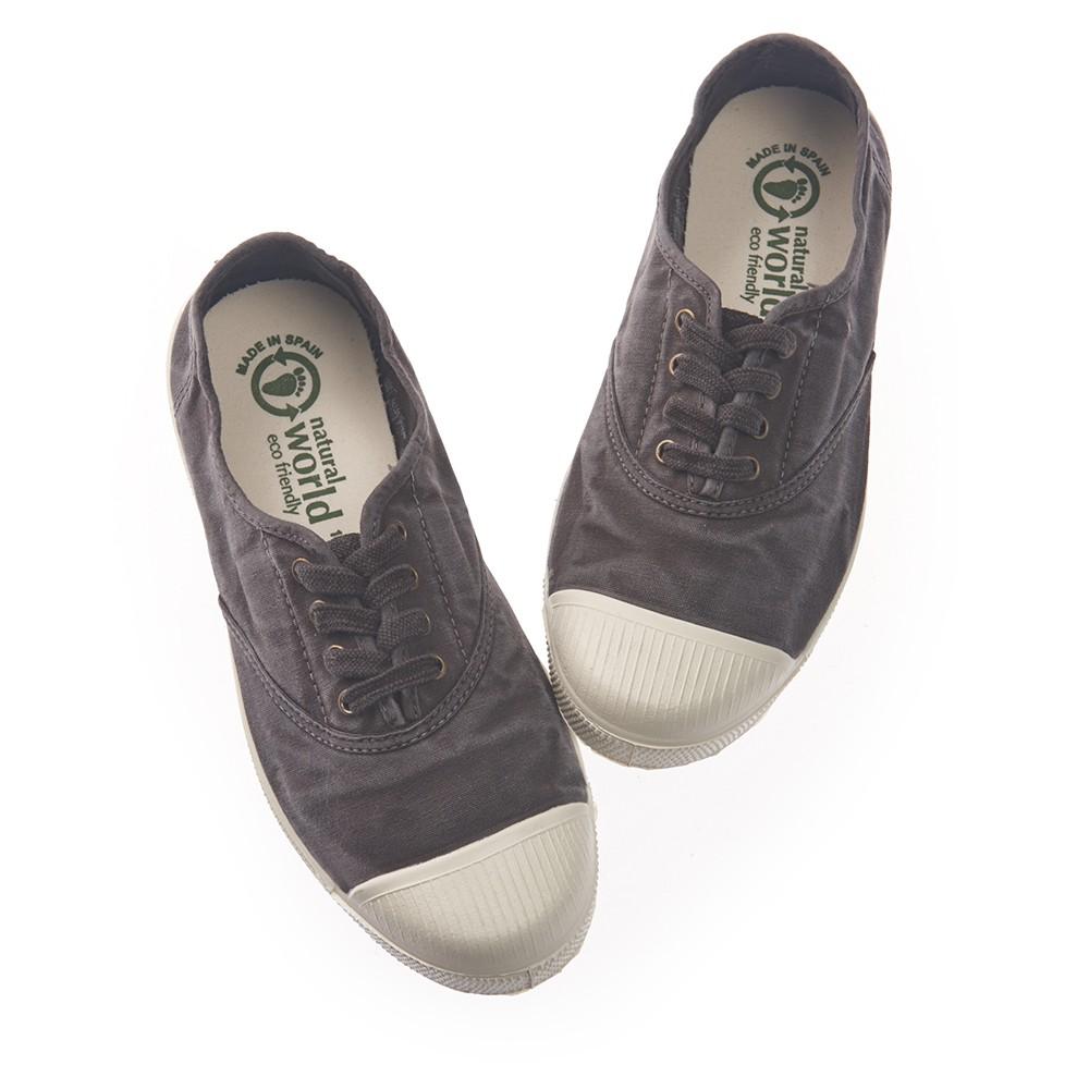 Natural World 西班牙休閒鞋 刷色4孔綁帶基本款-鐵灰色