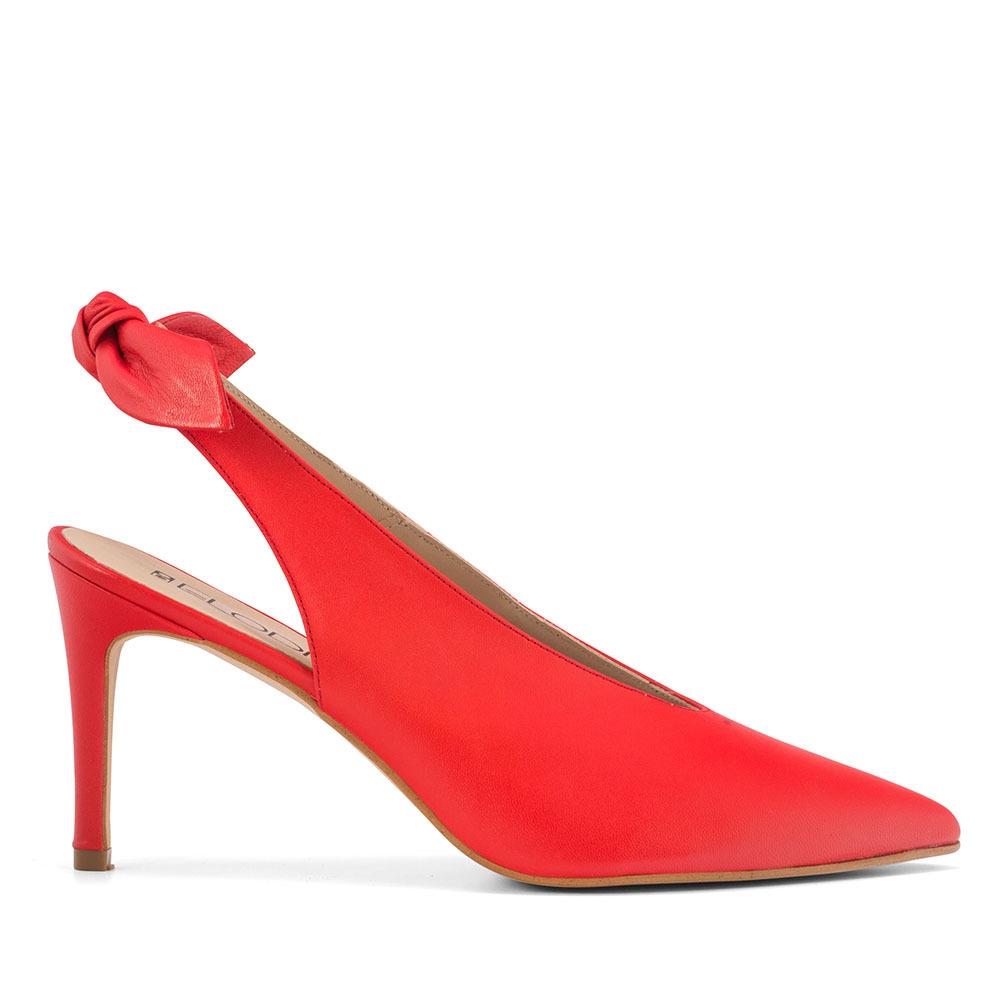 ELODIE 真皮蝴蝶結繫帶高跟鞋-紅