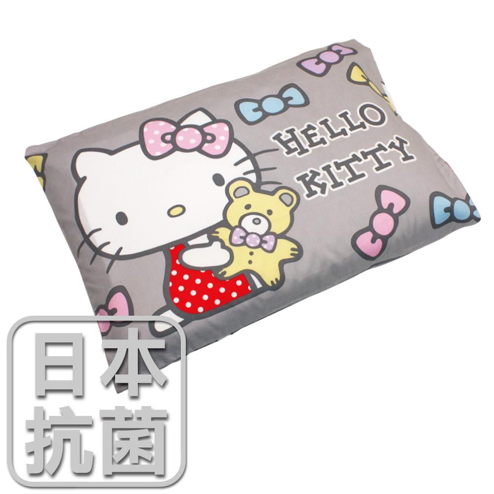 鴻宇 兒童乳膠枕 日本抗菌Hello Kitty哈尼小熊-坐姿灰 美國棉授權品牌 台灣製