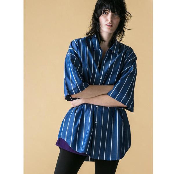 【二手】YU SELECT-優選 monkey time M號 深藍色條紋短袖寬版襯衫
